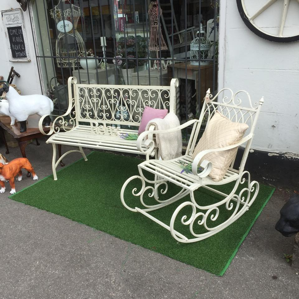repro garden furniture , rocking chair , two seater bench